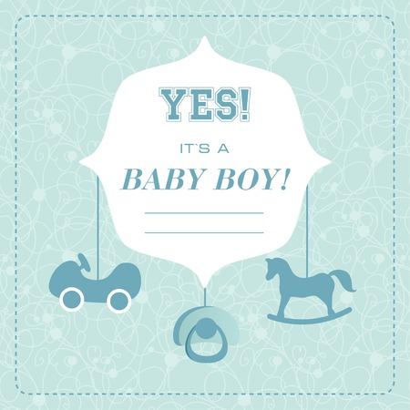 Vector cute greeting card. Its a boy card design. Vector illustration with cartoon horse. Vector