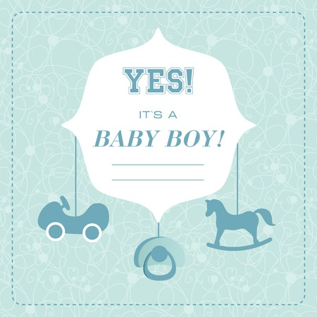 its a boy: Vector cute greeting card. Its a boy card design. Vector illustration with cartoon horse. Illustration