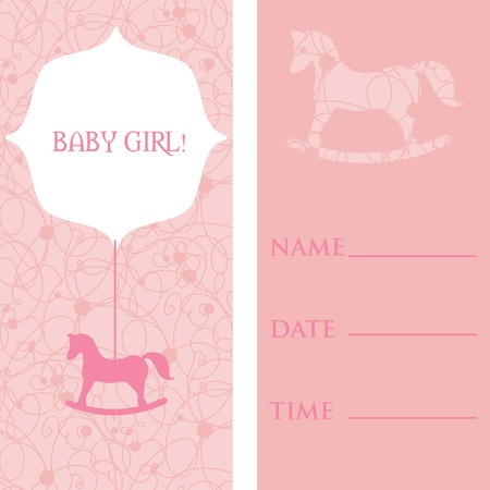 Vector cute greetings cards set baby girl arrival or shower vector vector cute greetings cards set baby girl arrival or shower card its a girl card design vector illustration with cartoon horse m4hsunfo