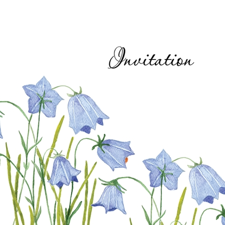 Bluebell flowers. Greeting or invitation vector card. Watercolor drawing. Hand drawn aquarel illustration.