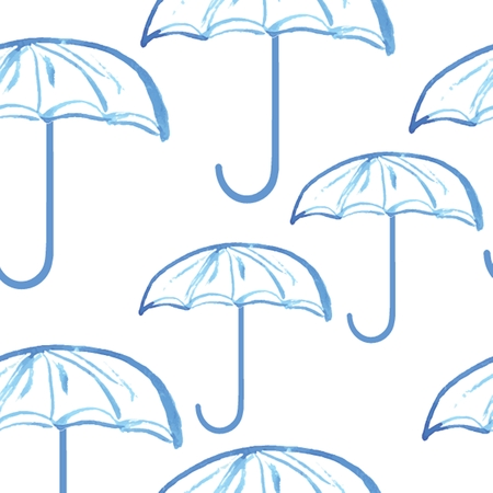 aquarel: Blue hand drawn watercolor painted umbrellas seamless pattern