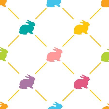 lapin silhouette: Seamless P�ques avec des lapins mignons