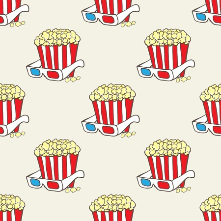 hand baskets: Seamless pattern with hand drawn pop corn baskets and movie eyeglasses Illustration