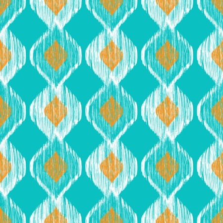 Ikat ethnic seamless pattern in blue and yellow colors.