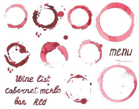 wine stains: set of watercolor painted wine stains on  white background Illustration