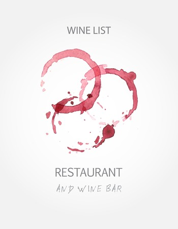 wine stains: Wine list design templates with red wine stains.