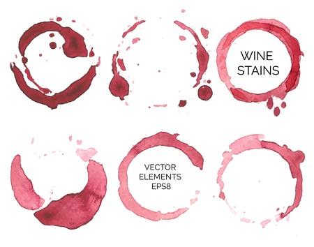 흰색 배경에 수채화 그린 와인 얼룩 세트