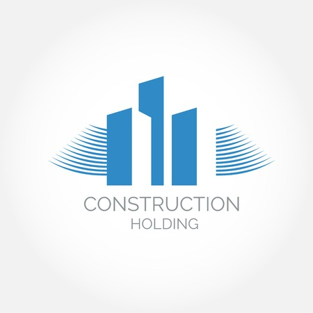 advertising construction: Abstract construction or real estate company logo design. Vector icon with buildings and houses