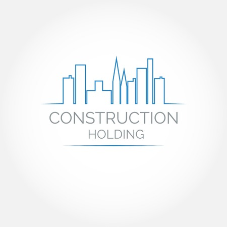apartment       buildings: Abstract construction or real estate company logo design. Vector icon with buildings and houses