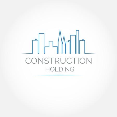 estates: Construcci�n abstracta o bienes inmuebles logotipo de la empresa de dise�o. Icono del vector con edificios y casas