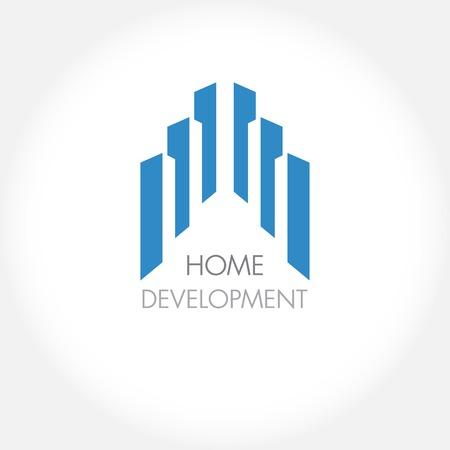 arquitectura: Construcción abstracta o bienes inmuebles logotipo de la empresa de diseño. Icono del vector con edificios y casas