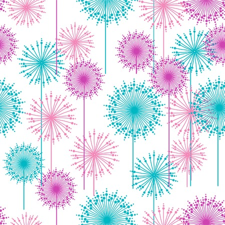 retro styled imagery: Seamless pattern with abstract  dehlia flowers. Vector illustration.