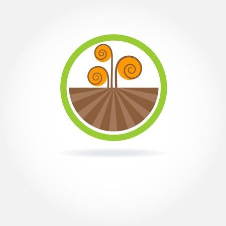 round logo: Green healthy nature agricultural logo Illustration
