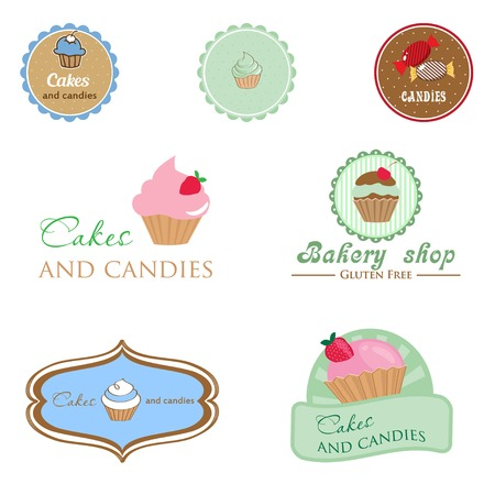 pastry shop: Set of vintage style logo with cupcake and candies. Good idea for label, banner, logo or other design Illustration