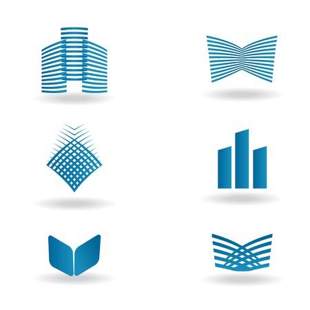 logo batiment: Résumé construction ou société immobilière conception de logo. Vector icône avec des bâtiments et des maisons
