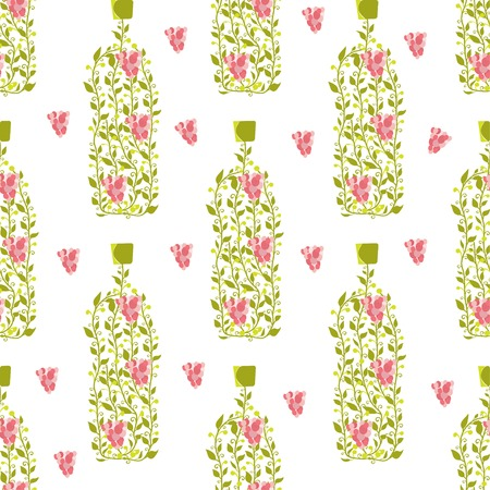 Seamless pattern with wine bottle from grape leaves and berries Vector