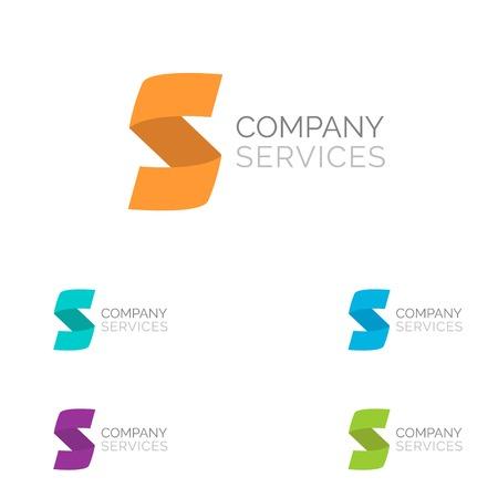 明るい色の手紙は、S のロゴのデザイン テンプレート要素