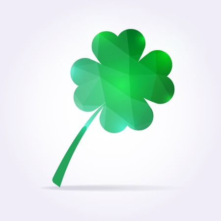 shamrock: Green clover leaf in low poly style. Vector shamrock illustration
