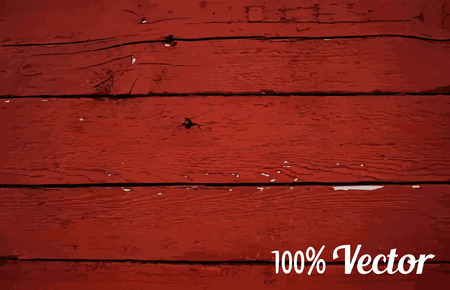 painted wood: Wooden texture background. Vector illustration of red painted wood plank wall.
