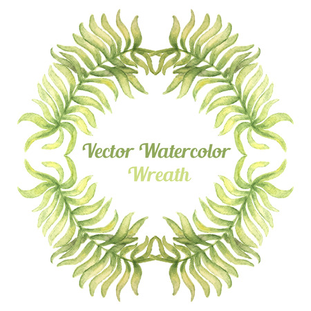 palm wreath: Watercolor wreath with palm tree branches. Vector illustration  for design of gift packs, wrap,  card, invitation,  wallpaper, web sites and other. Illustration