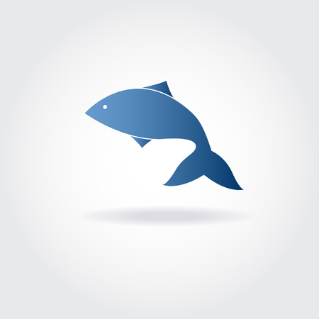 Vector illustration of abstract blue fish. Abstract fish logo for seafood restaurant or fish shop. Vector