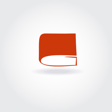 book store: Book store or library logo sign. Open red book icon.
