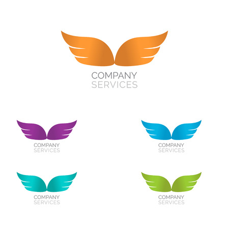 Abstract simple wings logo. Vector logo icon. Illustration