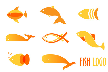 frozen fish: Vector illustration of warm colors golden fishes. Abstract fish logos set for seafood restaurant or fish shop Illustration