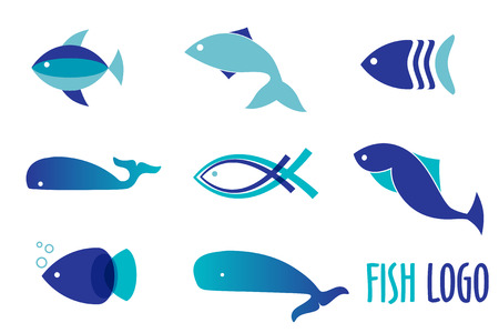 Vector illustration of blue colors fishes. Abstract fish logo set for seafood restaurant or fish shop Vettoriali