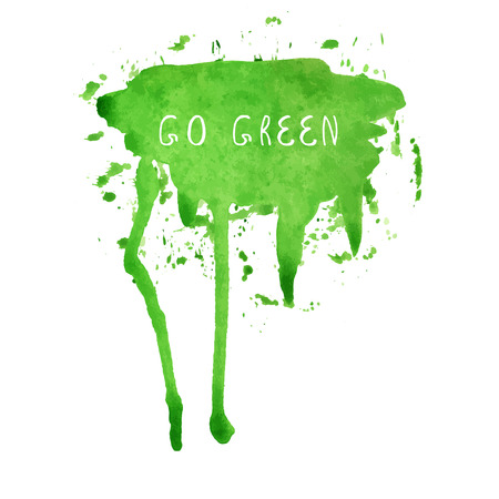 cerulean: Green watercolor blank speech bubble. Watercolor painted vector illustration. Illustration