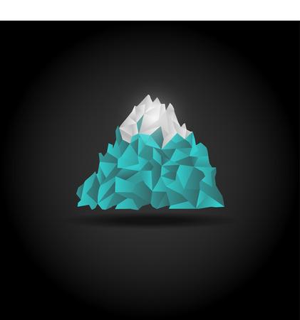 Iceberg icon on black background. Vector mountain logo sign. Vector