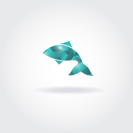 fish shop: Vector illustration of abstract blue fish. Abstract fish logo for seafood restaurant or fish shop Illustration