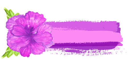 tropical flower: Watercolor painted  vector  hibiscus. Tropical Flower. Vector banner with  flower Illustration