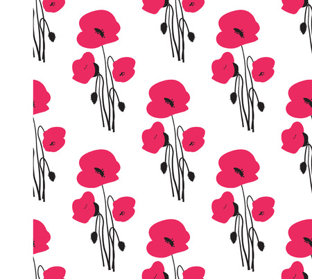 red poppy: Seamless pattern with small red poppy flowers