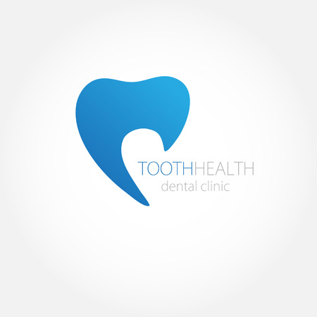 white teeth: Dental clinic logo with blue tooth icon