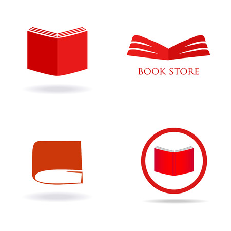 book store: Book store or library logo signs set. Red book icons