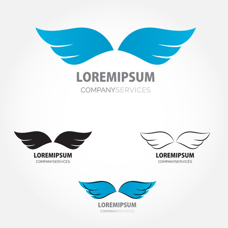 wings vector: Abstract simple wings . Vector  icon. Illustration