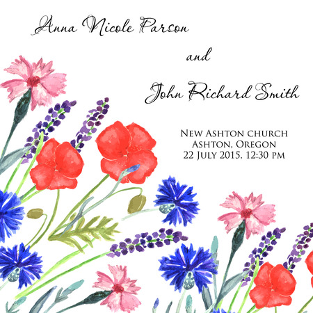 sweet pea: Watercolor painted wedding invitation. Cornflower, lavender, sweet pea  and poppy flowers pattern.