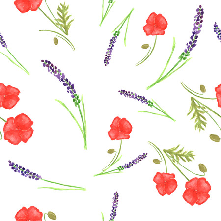 poppy flowers: Watercolor painted seamless lavender and poppy flowers pattern.