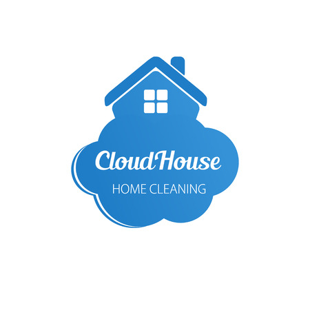 Small blue house on the cloud. Home cleaning or deleivery company business logo. Vector  element,  icon. Stock Vector - 41126610