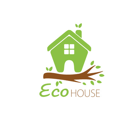 Small green eco house on the tree branch. House logo. Ecological house icon. Ilustração