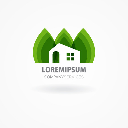 Eco house with green leaves. House logo. Ecological house icon. Vettoriali