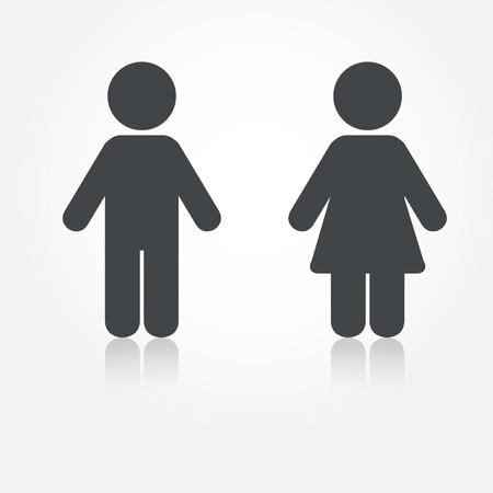 影で男と女のアイコンをグレー ベクトル。印刷用のイラストレーションと web