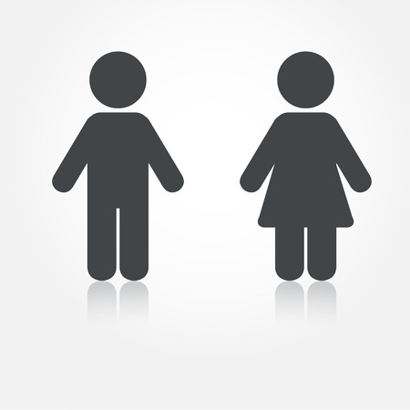 bathroom sign: Grey vector man and woman icons with shadows. Illustration for print and web Illustration