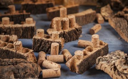 Cork bark and cork for wine.