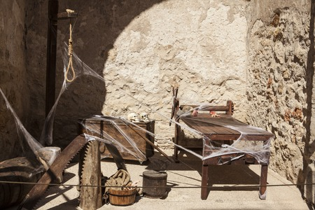Medieval instruments of torture of the Inquisition in Spain. Stock Photo