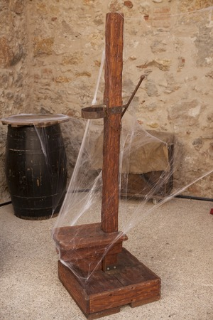 mockery: Medieval instruments of torture of the Inquisition in Spain. Stock Photo