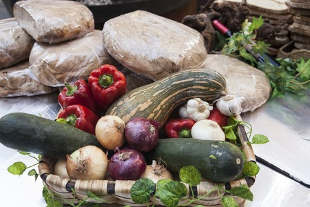 hoagie: Bread, fresh vegetables zucchini garlic bell pepper onion, at the fair in Spain.