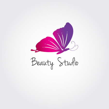 nail salon: Butterfly. Vector design concept for beauty salon or studio. Vector logo template. Illustration