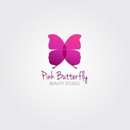donna farfalla: Farfalla. Vector concept design per salone di bellezza o di studio. Vector logo template. Vettoriali